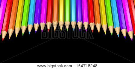 3D Rendered Illustration of rainbow colored arced pencils isolated over a black background.