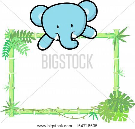 cute baby elephant on blank board with bamboo frame isolated on white background