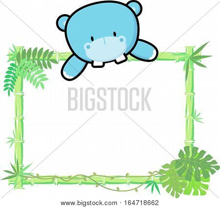 cute baby hippo on blank board with bamboo frame isolated on white background