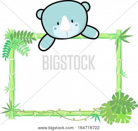 cute baby rhino on blank board with bamboo frame isolated on white background