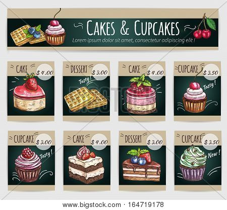 Desserts price cards set. Vector sketch cake with fruits and berries, crispy wafer, chocolate muffin, creamy pie, souffle cupcake, sweet biscuit mousse. Dessert menu banner for bakery shop, cafe, cafeteria, patisserie