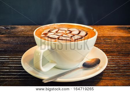 Coffee cup on the table Mocca hot coffee.
