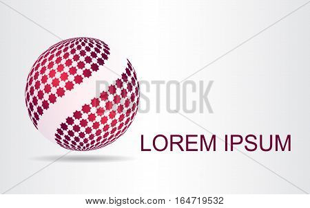 Stylized spherical surface with shapes of stars. This logo is suitable for global company world technologies and media and publicity agencies