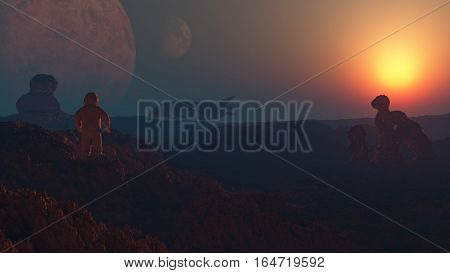 3d rendering of an cosmonaut exploring wild alien planet Science-Fiction landscape