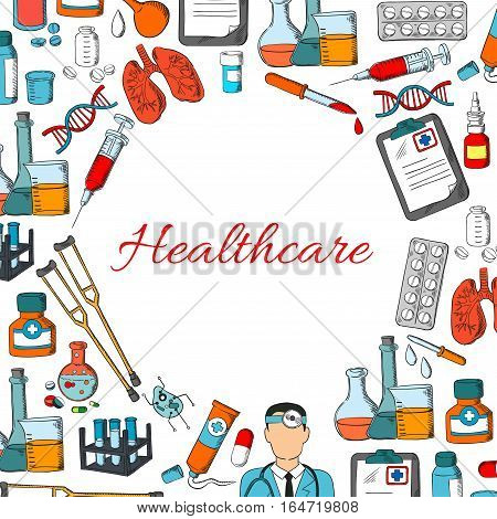Healthcare poster. Vector medical tools, medicine and medical treatment equipment, doctor, pills, drugs, lungs, microscope, heart, blood and dna, x-ray and drops, syringe, stethoscope and dropper, test flask and ointment tube, dropper and lungs