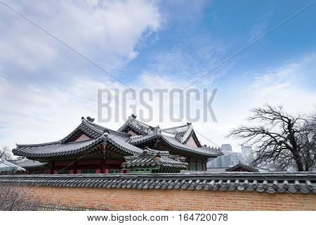 Architectural Detail - Korean Tradition Red Wooden Pole And Outdoor Stone Wall, Decoration Brick Wal