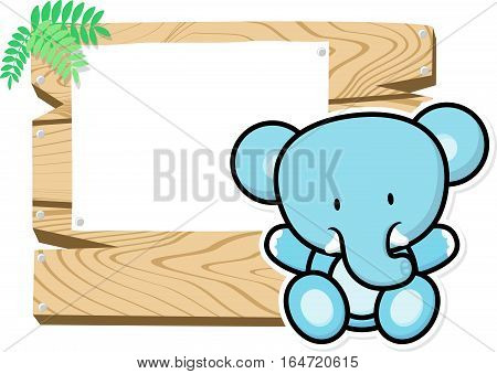 illustration of cute baby elephant on wooden board with blank sign isolated on white background