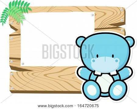 illustration of cute baby hippo on wooden board with blank sign isolated on white background