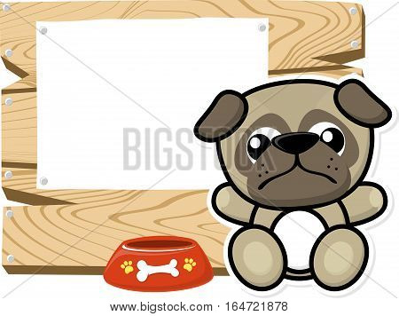 illustration of cute baby pug on wooden board with blank sign isolated on white background