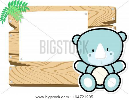illustration of cute baby rhino on wooden board with blank sign isolated on white background