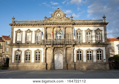 City hall of Pontevedra city, Galicia, Spain. It was designed by Alejandro Rodríguez Sesmeros under a nineteenth century eclectic style