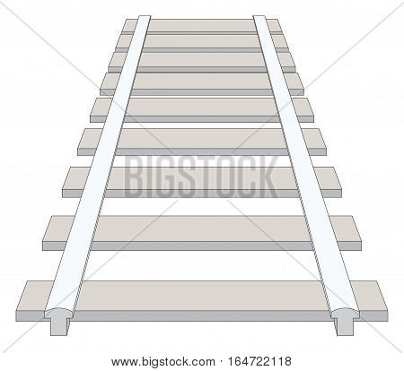 Schematic simple railing in one point perspective isolated on white