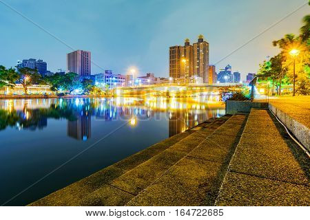 View of the love river at night in Kaohsiung