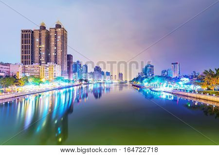 View of Kaohsiung financial district and love river at night