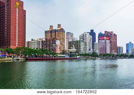 KAOHSIUNG TAIWAN - NOVEMBER 26: This is a view Kaoshiung financial district riverside buildings and hotels on November 26 2016 in Kaohsiung
