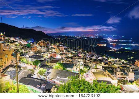 View of Jiufen village housing area at night