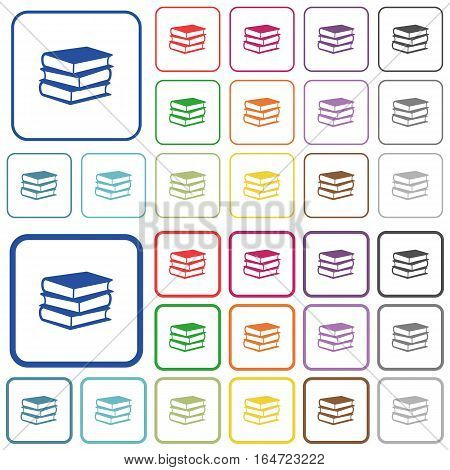 Books color flat icons in rounded square frames. Thin and thick versions included.