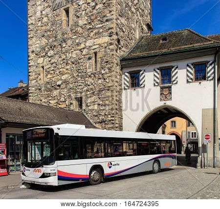 Aarau, Switzerland - 7 July, 2016: a Hess bus at a stop in the old town. Hess is a brand of Carrosserie Hess AG - a bus, trolleybus and commercial vehicle manufacturer, based in the town of Bellach, Switzerland.