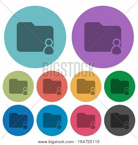 Folder owner darker flat icons on color round background