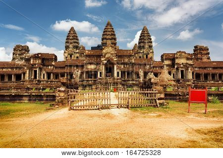 East Facade Of Ancient Complex Angkor Wat In Siem Reap, Cambodia