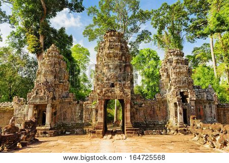 Entrance To Ancient Preah Khan Temple. Angkor, Cambodia