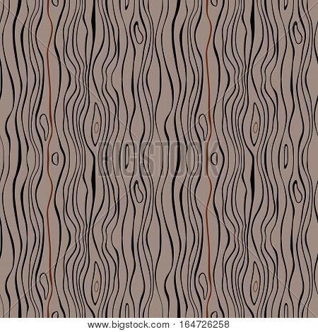 Seamless striped nature pattern. Vertical narrow wavy lines. Bark, branches of trees, tropical forest theme texture. Brown, gray, black colored background. Vector