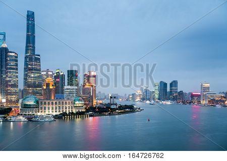shanghai closeup in nightfall beautiful scenery on both sides of the huangpu river.