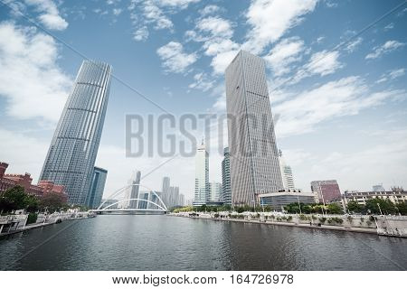 beautiful cityscape of tianjin modern buildings on either side of the river