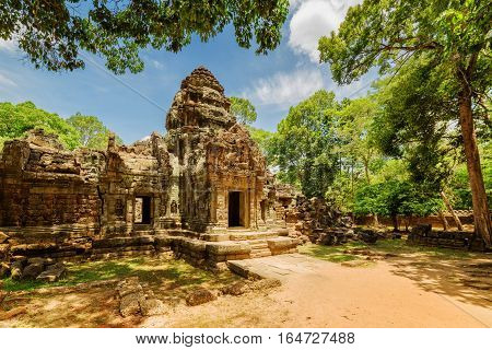 Side View Of Gopura At Ancient Ta Som Temple In Angkor, Cambodia