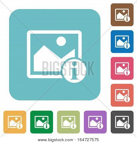 Image info white flat icons on color rounded square backgrounds