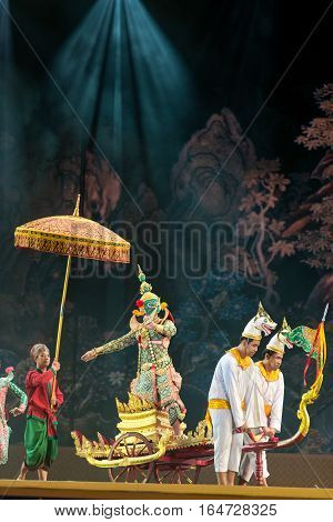 Bangkok. Thailand - 13 December 2015, Khon Is Dance Drama Of Thai Classical Masked, This Performance