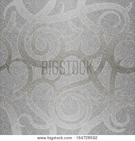 Seamless vintage festive vector pattern with spiral elements. Imitation of silver decorative luxury paper. Concept for holiday packaging background backdrop.