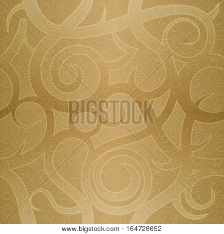 Seamless vintage festive vector pattern with spiral elements. Imitation of golden decorative luxury paper. Concept for holiday packaging background backdrop.