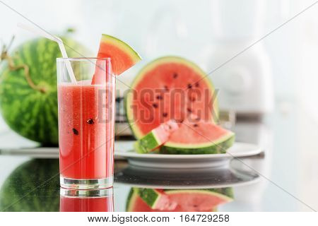 Glass Of Fresh Watermelon Juice On Kitchen Table