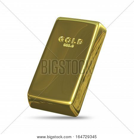 3D Illustration of Golden Bullion on a White Background