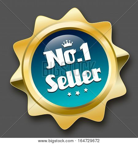 No. 1 seller seal or icon with crown symbol. Glossy golden seal or button with stars and turquoise color.