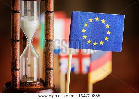 Hourglass And Flag Of The European Union. Time Is Running Out.