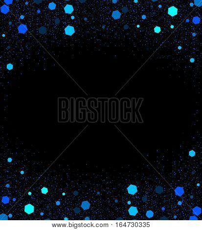 Black background with little shiny dark and light blue elements in shape of hexagon. Vector holiday illustration for decorating different things. Cartoon New Year banner with splashing sparkles