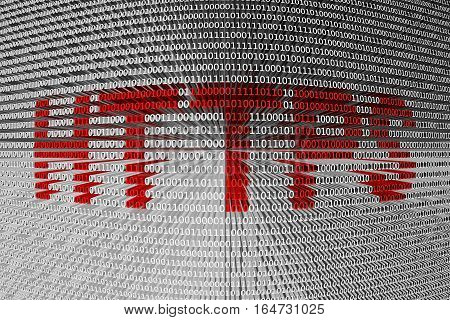 HTTPS as a binary code 3D illustration