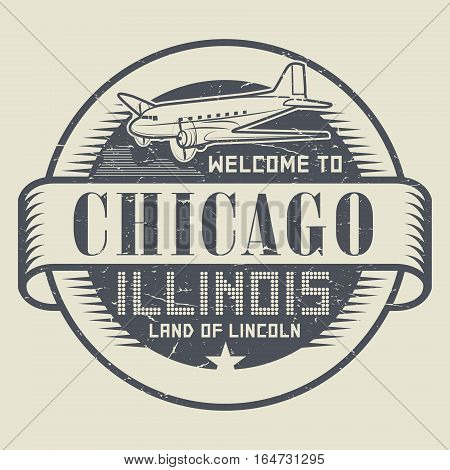 Grunge rubber stamp or tag with text Welcome to Chicago Illinois vector illustration