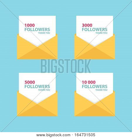 Thank you letters, emails or messages for network friends and followers. Set of card templates for social networks, promotion and advertising. Flat style vector Illustration.