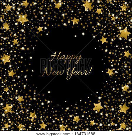 Happy 2017 New Year greeting card with inscription in centre and golden sparkling stars of various size around on black background. Sparkle sequin tinsel yellow bling for invitation poster banner