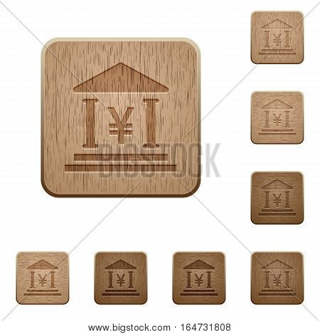 Yen bank office on rounded square carved wooden button styles