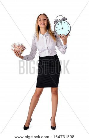 Portrait of pretty young joyful businesswoman holding cash and clockon white background