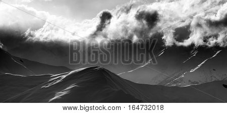 Black And White On Evening Mountain And Sunlight Clouds