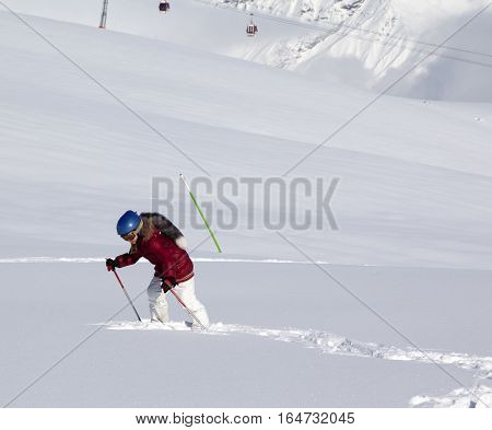 Little Skier On Off-piste Slope With New Fallen Snow At Sun Day