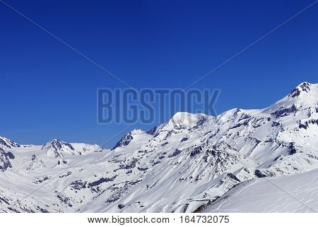 Panoramic View On Off-piste Slope And Snow Mountain At Sun Winter Day