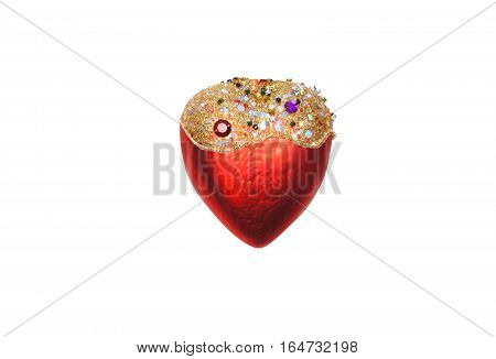 Heart of glass is decorated with beautiful colorful stones isolated on white background