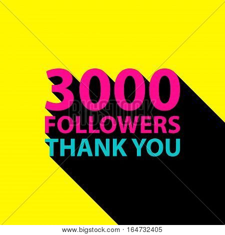 3000 followers, Thank You card template for social networks, promotion and advertising. Vector Illustration.