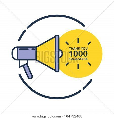 1000 followers, Thank You card template with megaphone for social networks, promotion and advertising. Flat design vector illustration.